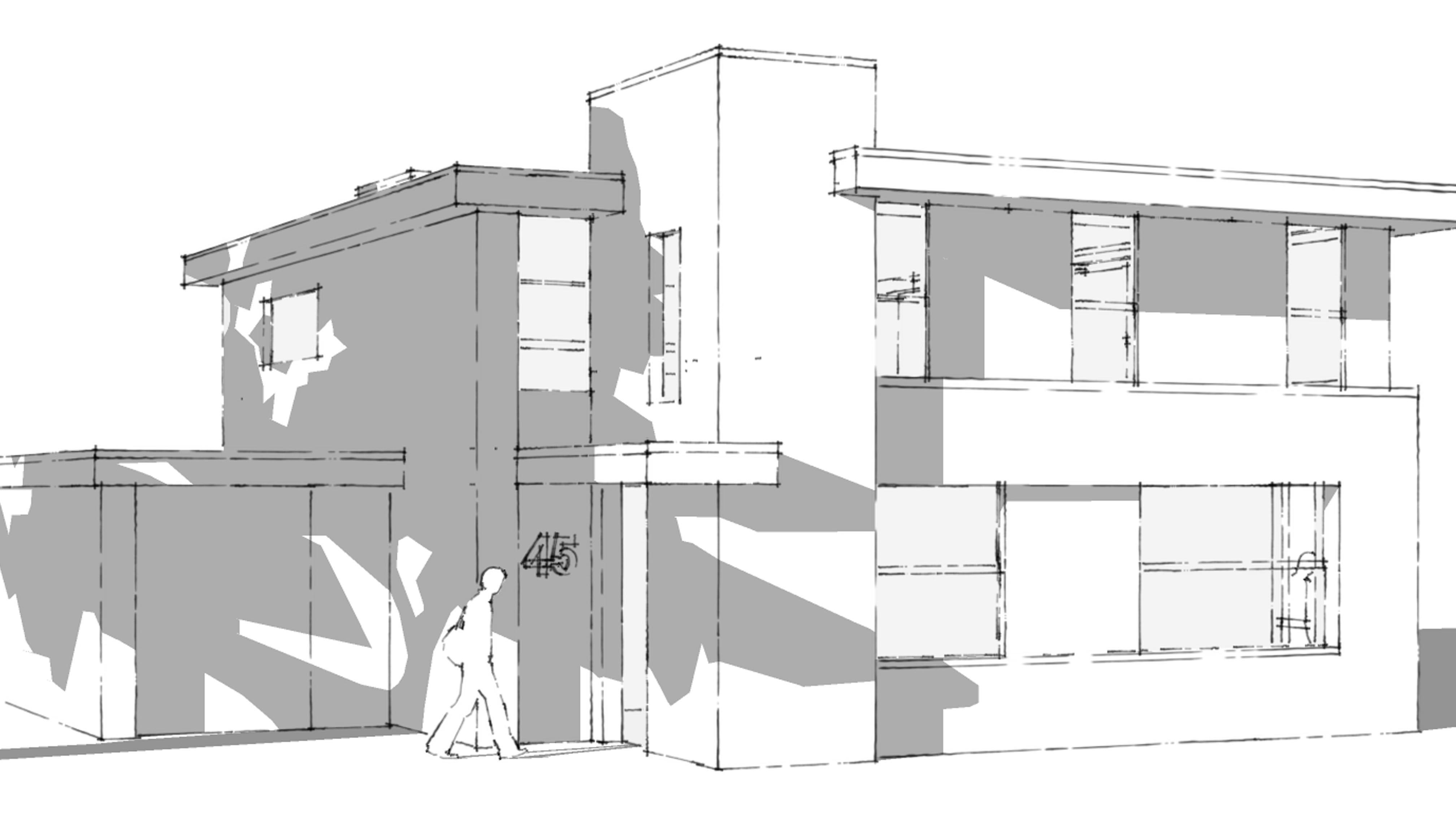Stijlarchitectuur - Project Dubbelsteyn west - Dubbeldam - Detail getekend - zwart wit